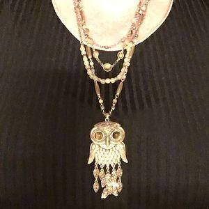 Fun Lucky Brand owl multi-strand necklace